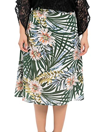 c453f3e3deb Chicwe Women s Plus Size Lined Floral Printed Long Flared Skirt - Casual  and Work Skirt 16