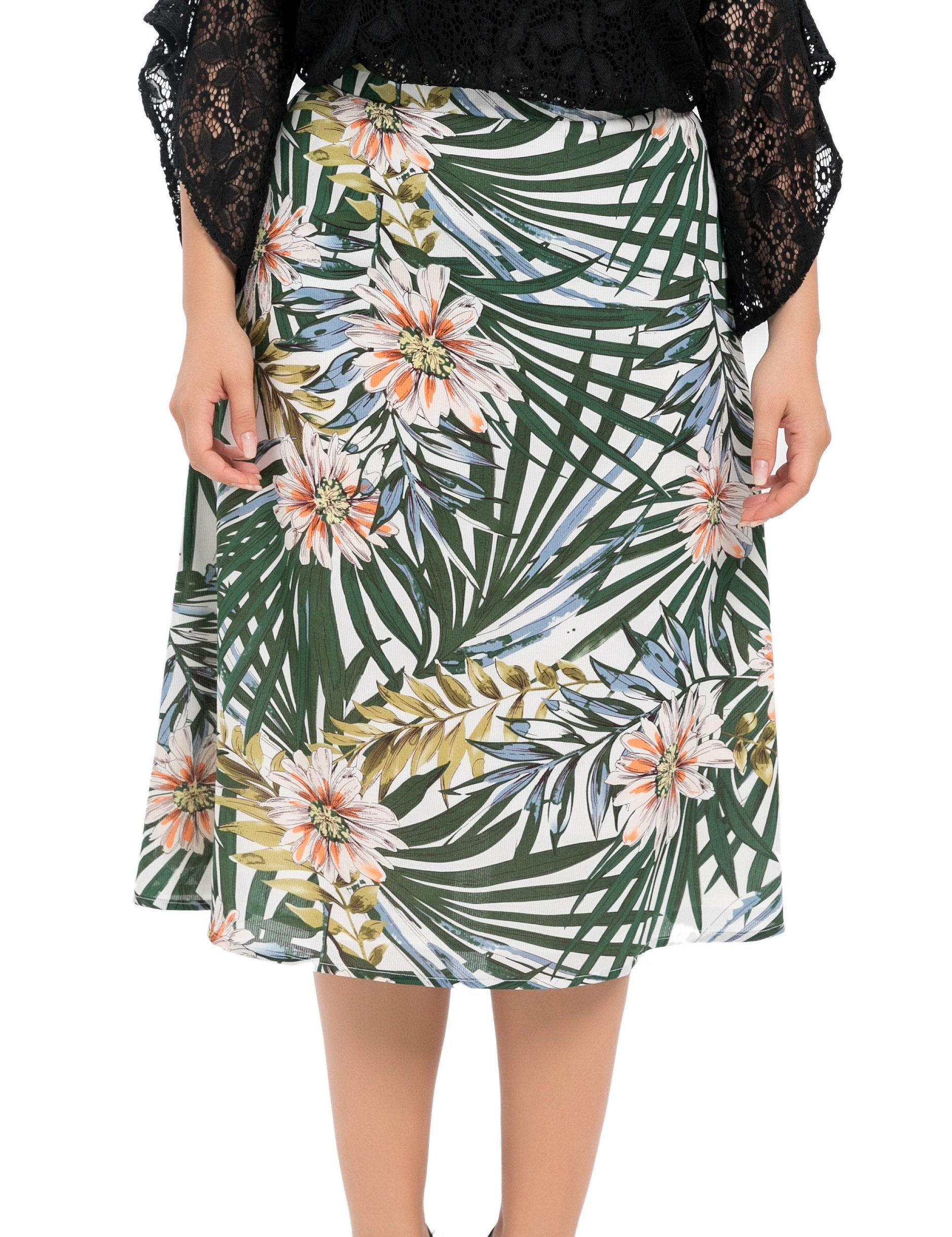 Chicwe Women's Plus Size Lined Floral Printed Long Flared Skirt - Casual and Work Skirt 20