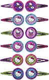 """Adorable Hello Kitty Rainbow Glitter Hair Clip Birthday Party Favours (12 Pack), Multi Color, 1"""" x 2""""."""