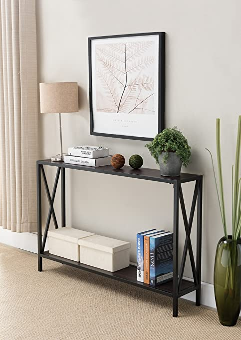 Walnut / Black Metal Frame 2-tier Entryway Console Sofa Table with X-Design Sides