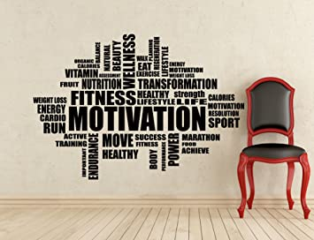 Gym Wall Decals Fitness Motivation Word Cloud Wall Decal Inspirational Words  Gym Poster Stencil Decor Sports