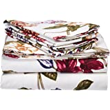 tribeca living 200gsm blossoms printed deep pocket flannel sheet set california king