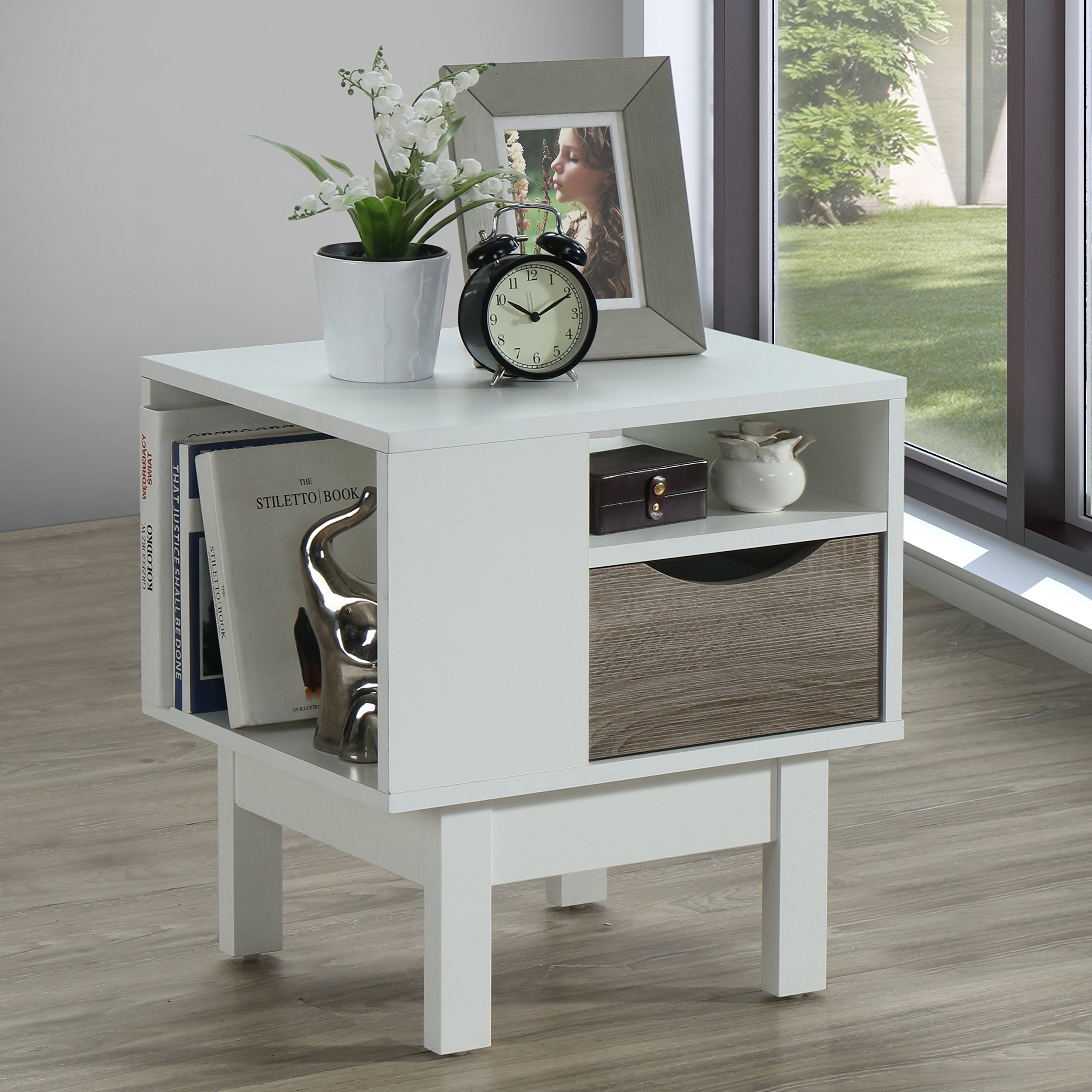 White Rustic End Table Shelf Nightstand Side Narrow Living ...
