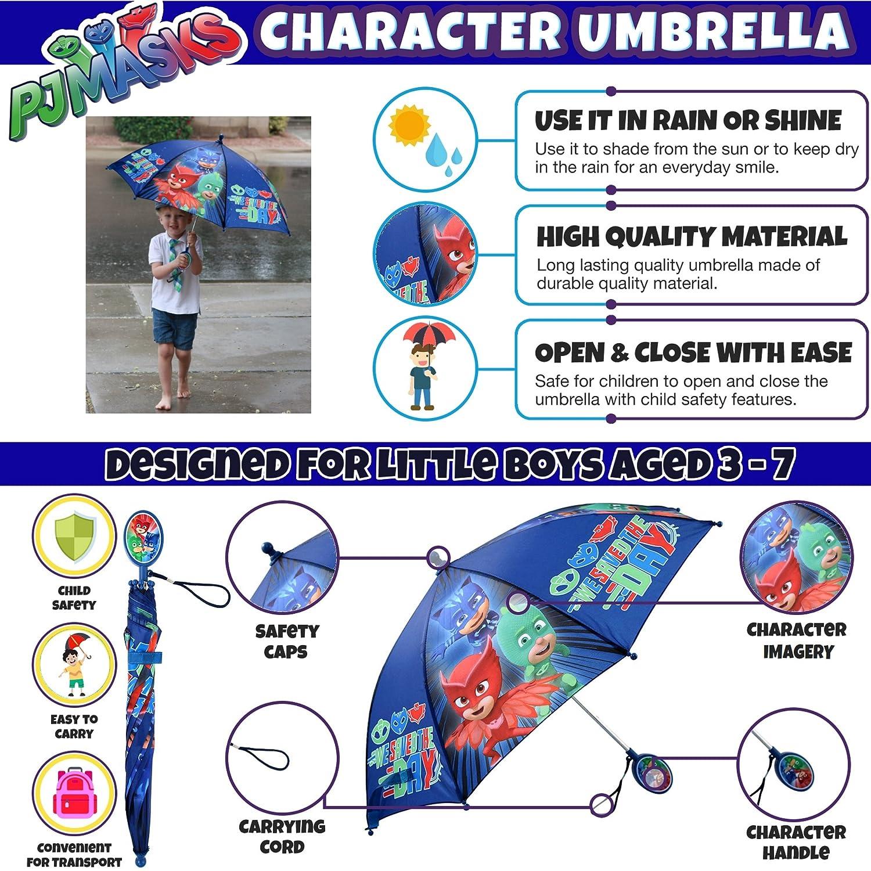 Amazon.com: Disney Little Boys PJ Masks Assorted Character Rainwear Umbrella, Blue, Age 3-7: Clothing