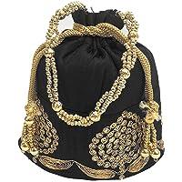 United bag Women's Handicraft Thread Work Silk Potli Bag