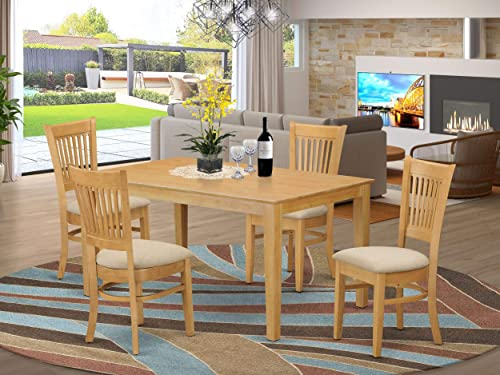 East West Furniture CAVA5-OAK-C Mid century Dining Table Set 5 Pc