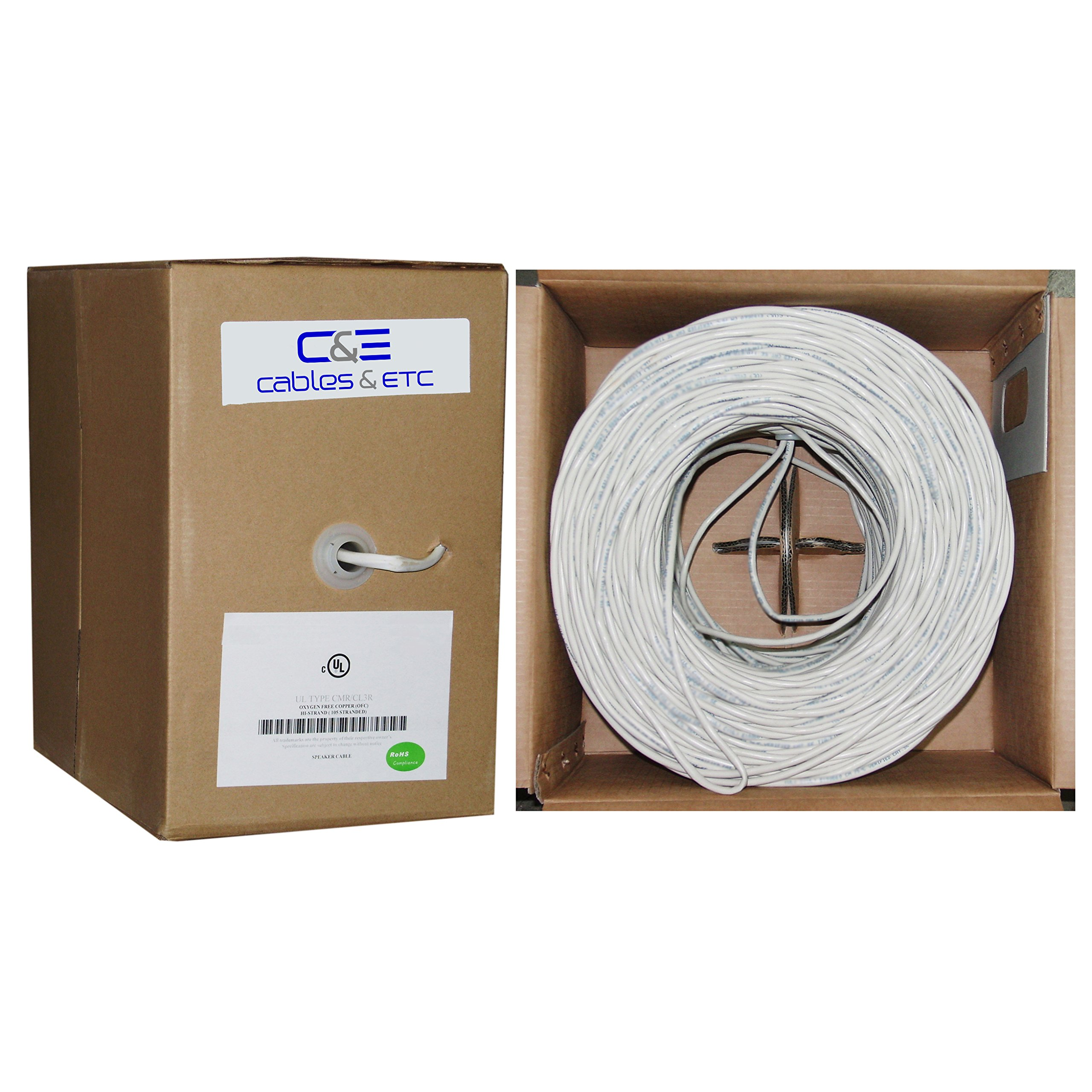 C&E 500 feet 16AWG 4 Conductor Solid Copper, Oxygen-Free Speaker Wire Cable
