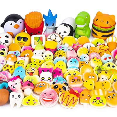 WATINC Random 50 Pcs Squishies Cream Scented Kawaii Simulation Lovely Toy Jumbo Medium Mini Soft Squishy, Phone Straps (WT-Squishy 50Pcs): Toys & Games