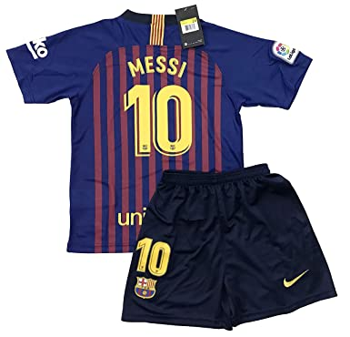 ccac9c65dc2 TrendsNow New 2018/2019 Messi #10 FC Barcelona Home Jersey & Shorts for Kids