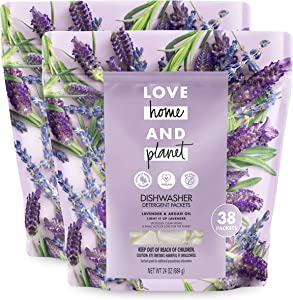 Love Home and Planet Dishwasher Detergent Packets Lavender & Argan Oil, 38 Count, Pack of 2