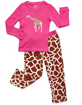 Amazon.com: Leveret Girls 2 Piece Pajama Cotton Top & Fleece Pants ...