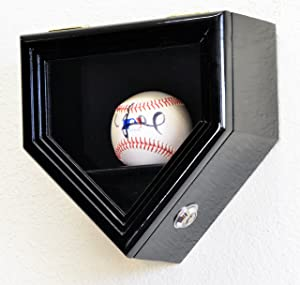 1 Baseball Ball Home Plate Display Case Holder Wall Rack Box w/98% UV Protection- Lockable -Black Finished