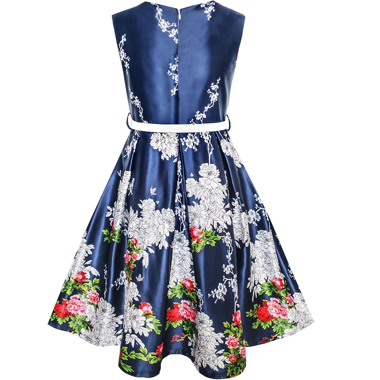 Sunny Fashion Vestito Bambina Marina Militare Blu Fiore Cintura Annata Festa Sole 6-14 Anni