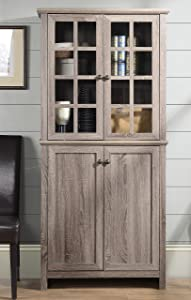 HOMESTAR ZH141454 Glass Cabinet in Reclaimed Wood Finish