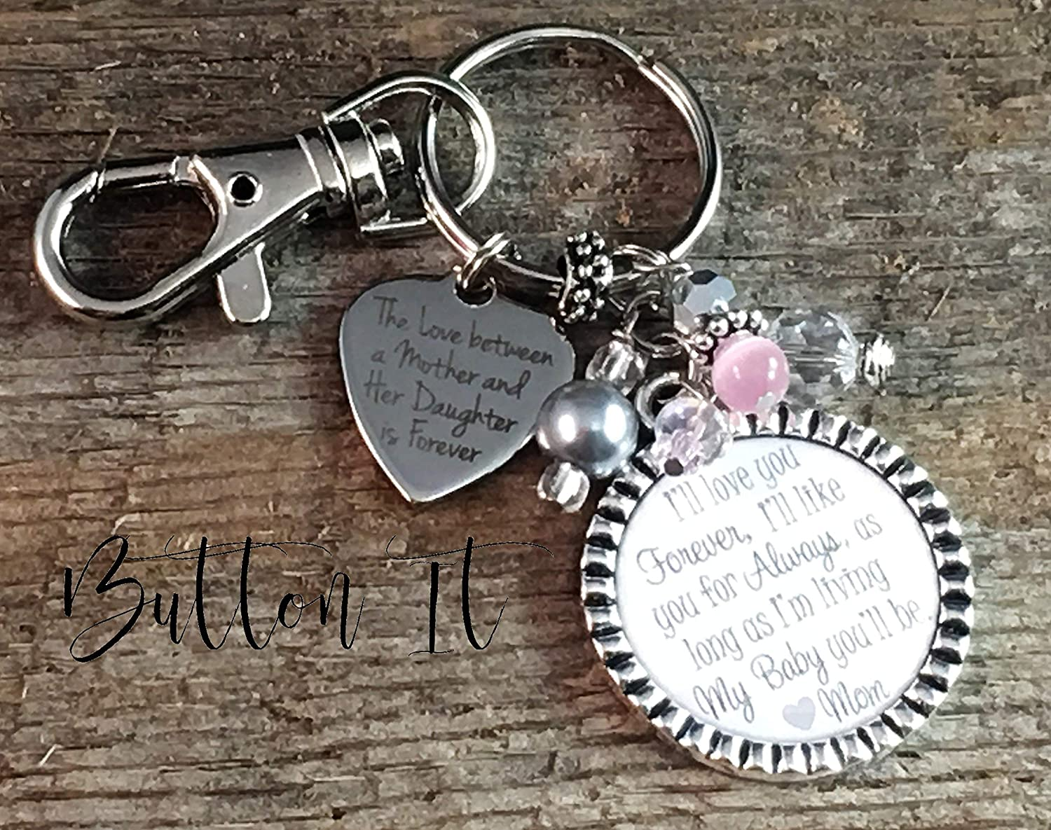 bride gift mother daughter jewelry bridal bouquet charm bride wedding gift Ill love you forever like you for always daughter gift bride bridal shower
