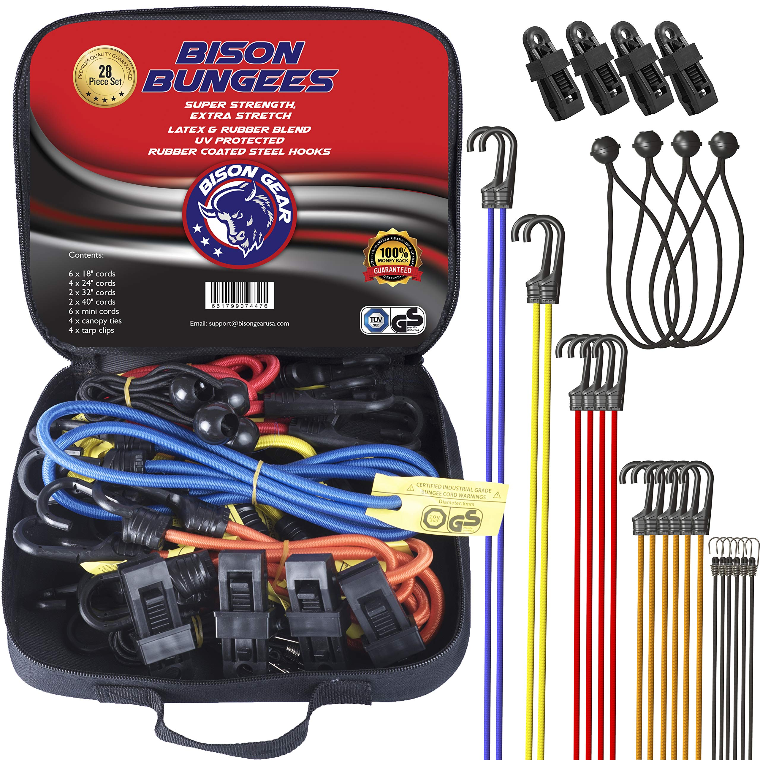 Bison Gear 28PC Premium Bungee Cord Assortment Including Ball Bungees and Tarp Clips - 28 Piece Heavy Duty Tie Down Pack - UV Resistant Industrial Grade Shock Cord - GS Certified Bungee Straps by BISON GEAR