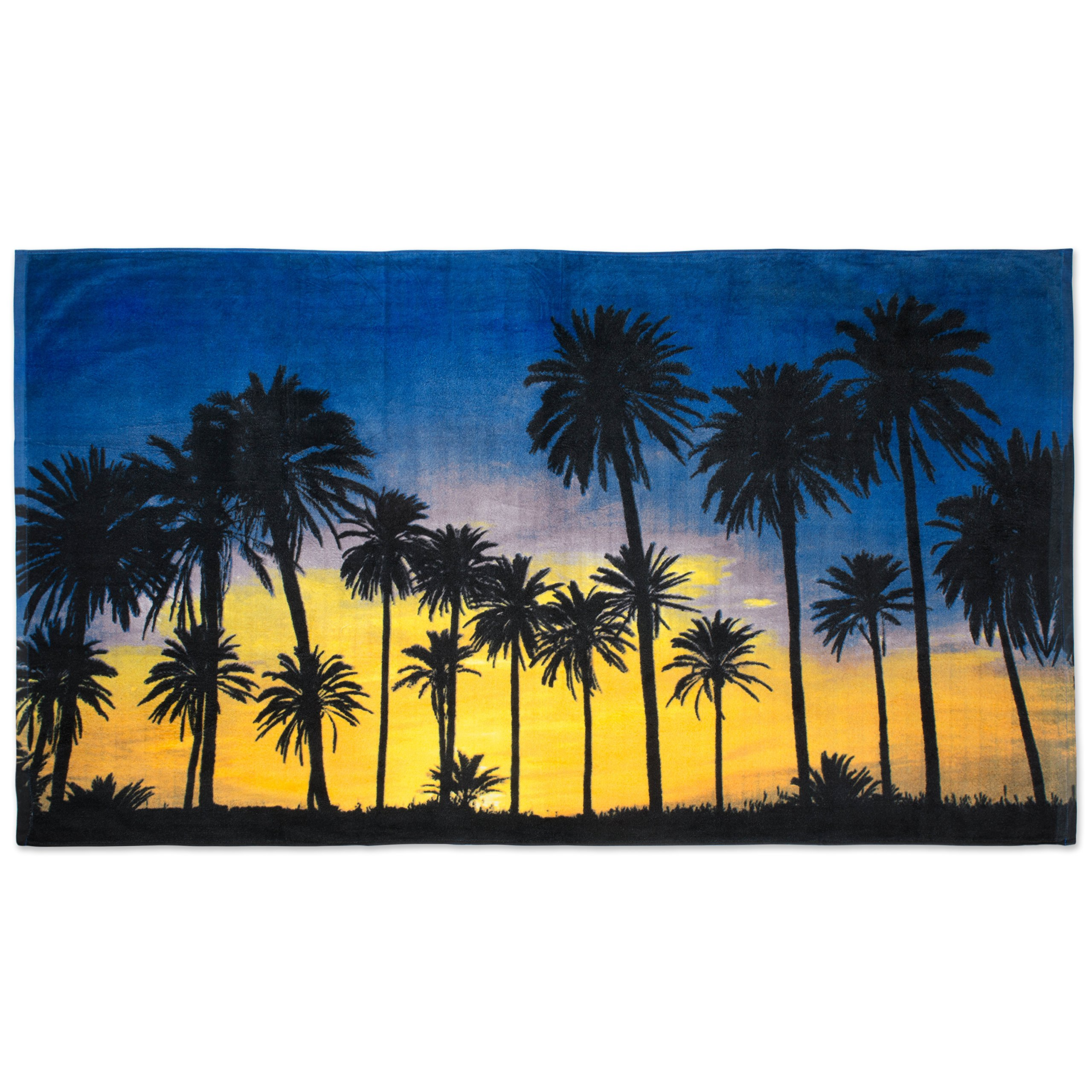Oversized Extra-Large Terry Cotton Beach Towe, 40x70'', Soft Absorbent and Dry Fast for Swimming Pool, Beach and Spa-Palm Trees Sunset