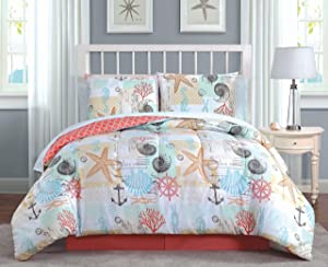 Avondale Manor Belize 8-Piece Comforter Set, King, Coral