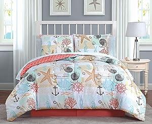 Avondale Manor Belize 8-Piece Comforter Set, Queen, Coral
