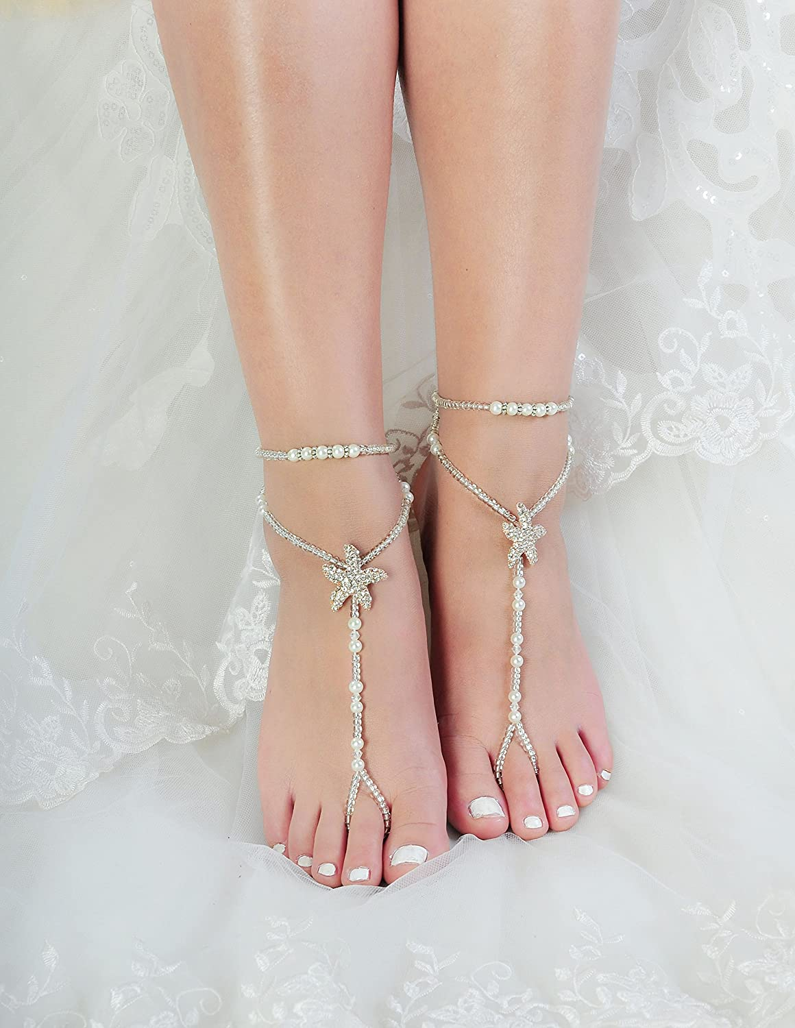 c658be18c Amazon.com  Fine Lady Beaded Beach Wedding Barefoot Sandals