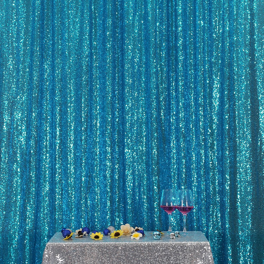 3e Home 5FT x 7FT Sequin Photography Backdrop Curtain for Party Decoration, Turquoise