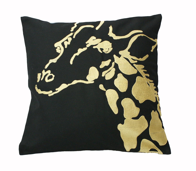 Urban Loft by Westex Africa Gold Giraffe Black Feather Filled Decorative Throw Pillow Cushion 20 x 20