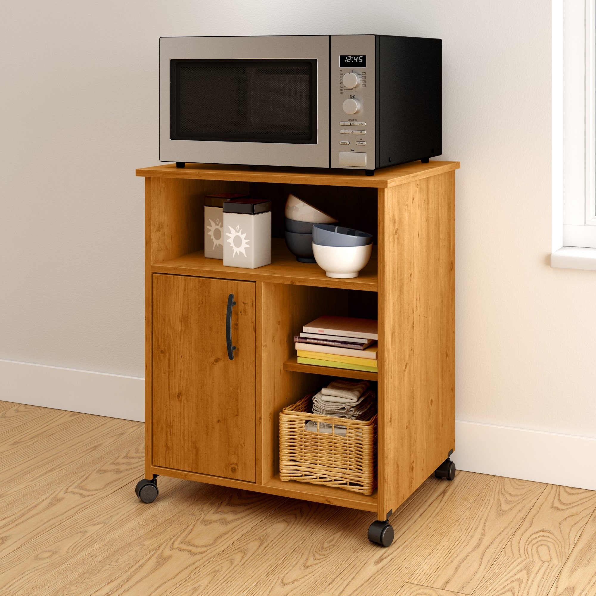 South Shore Axess Microwave Cart with Storage on Wheels, Country Pine by South Shore (Image #2)