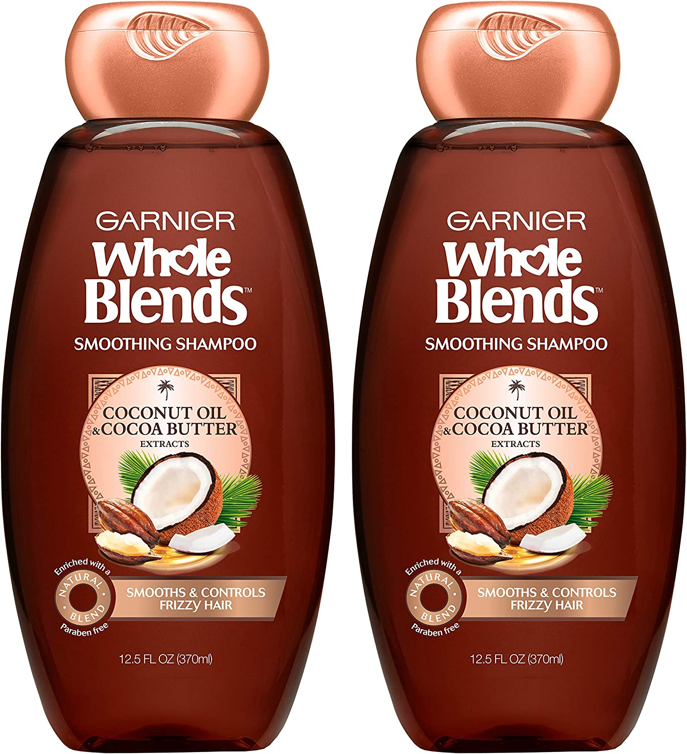 Garnier Whole Blends Smoothing Shampoo with Coconut Oil & Cocoa Butter Extracts, 12.5 Fl Oz (Packaging May Vary), 2 Count