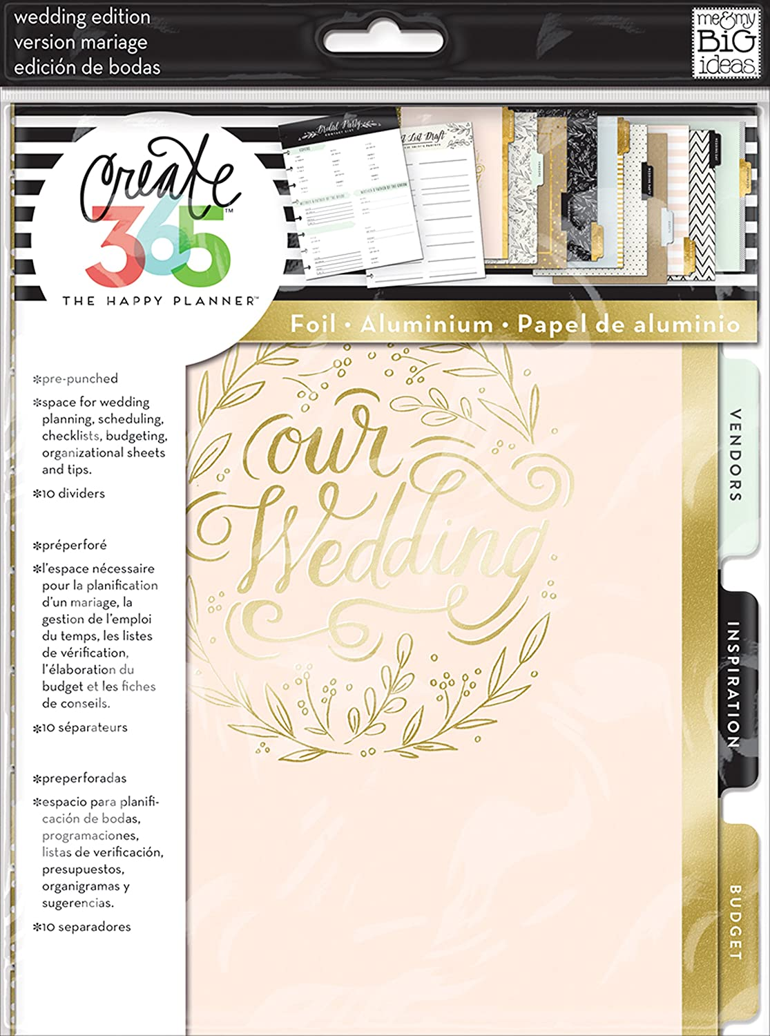 me & my BIG ideas Wedding Extension Pack - The Happy Planner Scrapbooking Supplies - Pre-Punched Pages - Wedding Planning, Scheduling, Budgeting - With Organizational Sheets & Tips - Classic Size