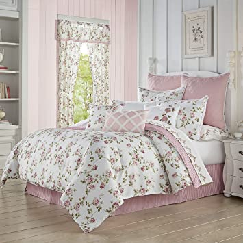 Country Shabby Chic Embroidered Floral 8 pcs Cal King Queen Comforter Set
