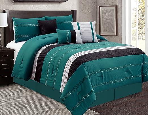 Luxury 7 Piece Bed in Bag Comforter Set King, Green