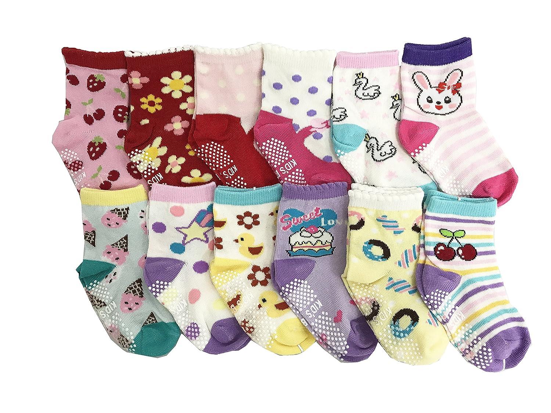 JT-Amigo Calcetines Antideslizantes para Bebés (Pack de 12 Pares) Baby-Sock-12Pairs-Set7