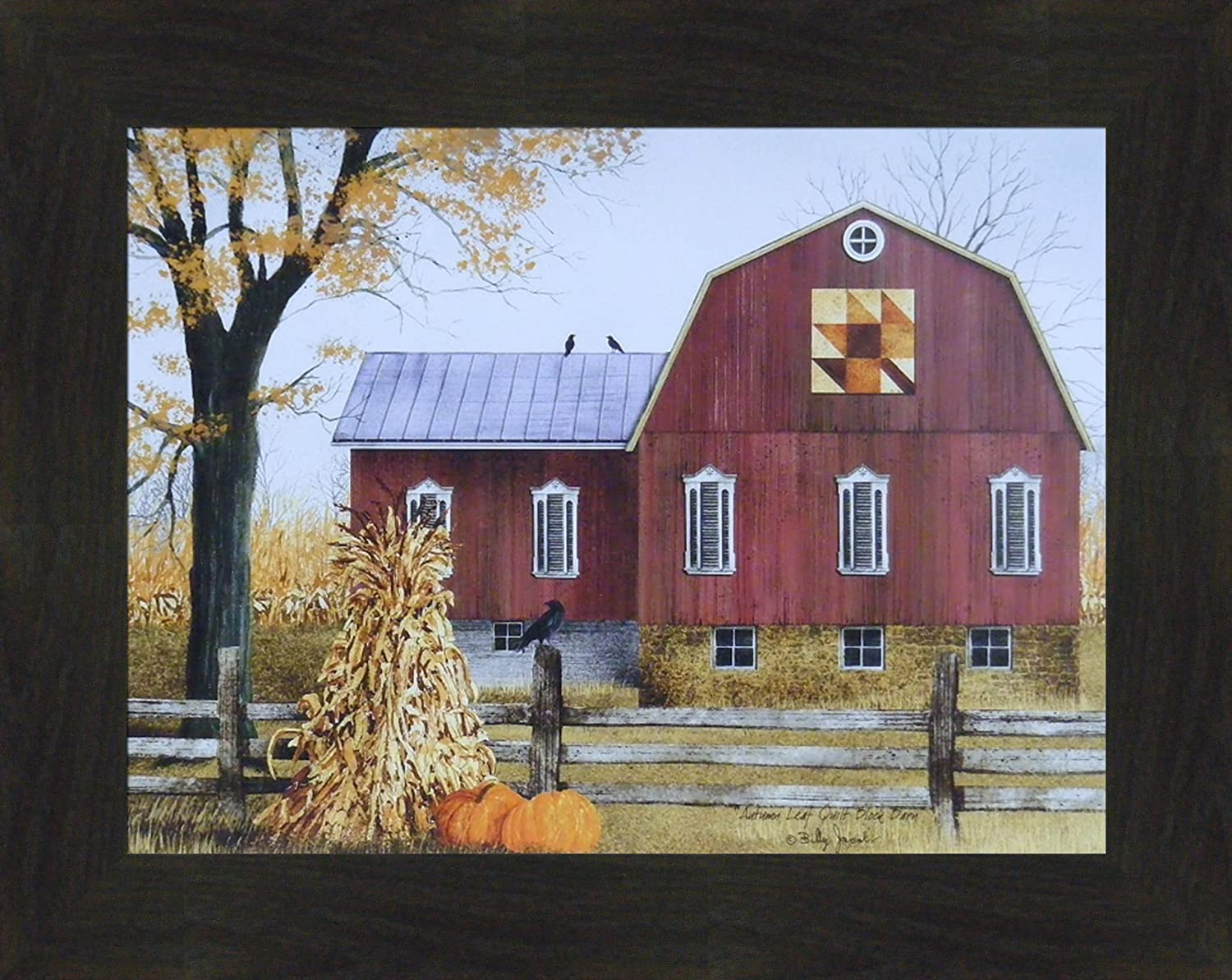 Amazon Com Home Cabin Decor Autumn Leaf Quilt Block Barn By Billy Jacobs 15x19 Barn Pumpkins Corn Stalks Fall Folk Art Country Primitive Print Framed Picture Posters Prints