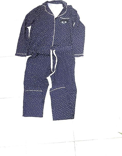 GISELA Pijama Azul Marino con Lunares Blancos con toques de ...