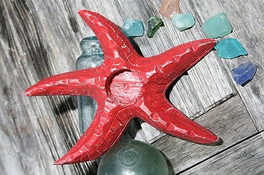 Christmas Tablescape Decor - Red Coastal Starfish Tea Light Candle Holder
