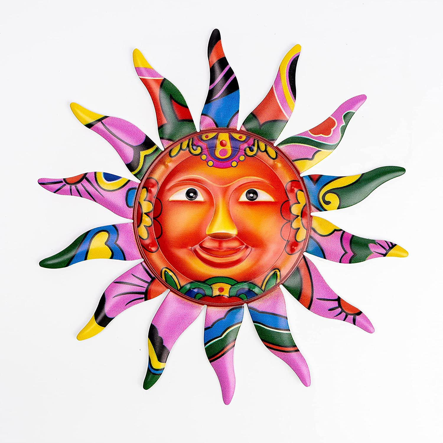 VEWOGARDEN Metal Sun Wall Art Decor Hanging for Indoor Outdoor Home Garden Colorful Sun Face Sculptures & Statues 12.7 Inches Pink