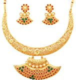 Touchstone Red Green White Alloy Metal Necklace Set For Women