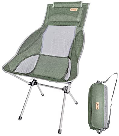 Nice C Ultralight High Back Folding Camping Chair, with Headrest, Outdoor, Backpacking Compact Heavy Duty Outdoor, Camping, BBQ, Beach, Travel, Picnic, Festival with Carry Bag