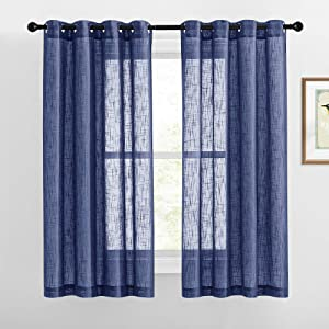 RYB HOME Bedroom Curtains Sheers - Linen Semi Sheer Curtains Half Privacy Light Glare Filtering Drapes for Living Room Farmhouse Office Bathroom, 52 x 63 inch Long, 1 Pair, Navy Blue