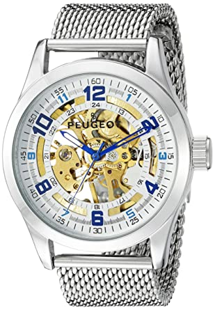 b2888b6ee6d Amazon.com  Peugeot Men s 1050S Mechanical Skeleton Stainless Steel Analog  Hand-Wind Silver-Tone Watch  Watches
