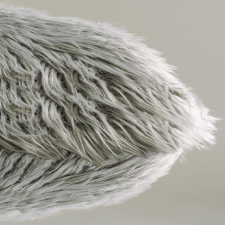 gris Kissen 40 x 60 cm tela de pelo de oveja de imitaci/ón Coj/ín de pelo largo de CelinaTex