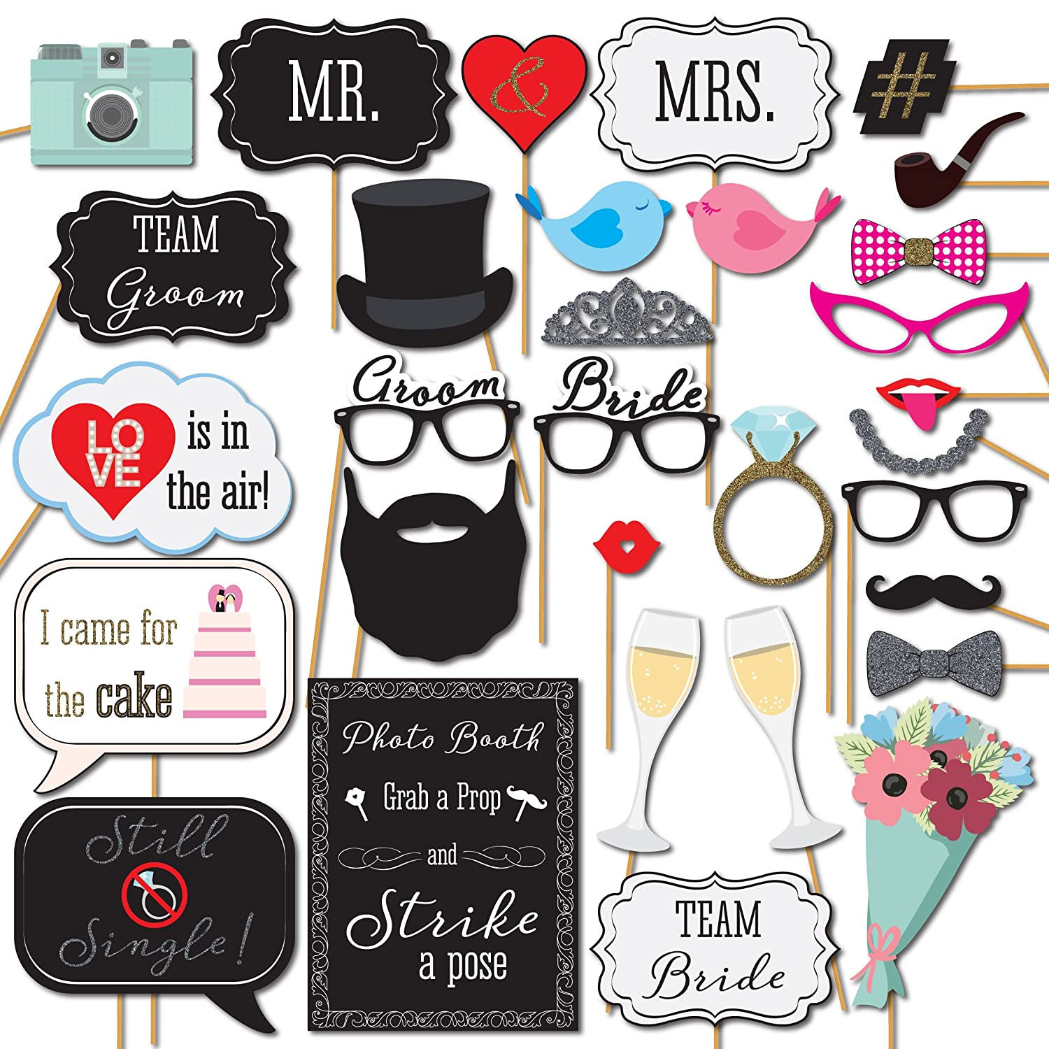Amazoncom Wedding Photo Booth Props 31 Printed Pieces Wooden