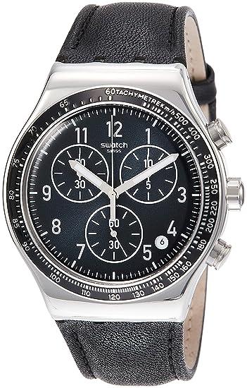Swatch Reloj Analógico para Hombre de Cuarzo con Correa en Cuero YVS448: Amazon.es: Relojes