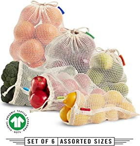 Colony Co. Reusable Produce Bags, Certified Organic Cotton Mesh, Tare Weight on Label, Plastic-Free, Metal-free, Washable, Double Drawstring, Set of 6 - Assorted Sizes