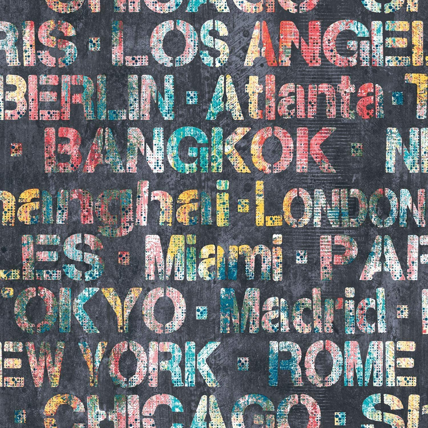 RoomMates Cities Of The World Peel and Stick Wallpaper, Red