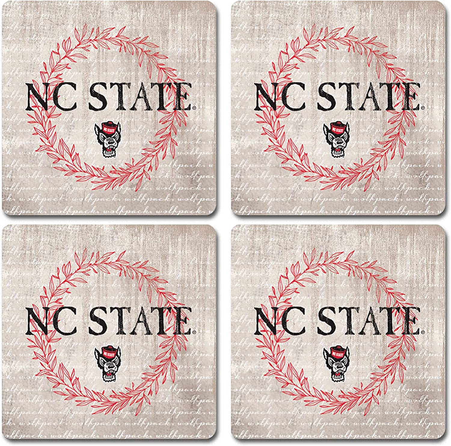 One Size NCAA Legacy North Carolina State Wolfpack Thirsty Coaster 4-Pack Sandstone