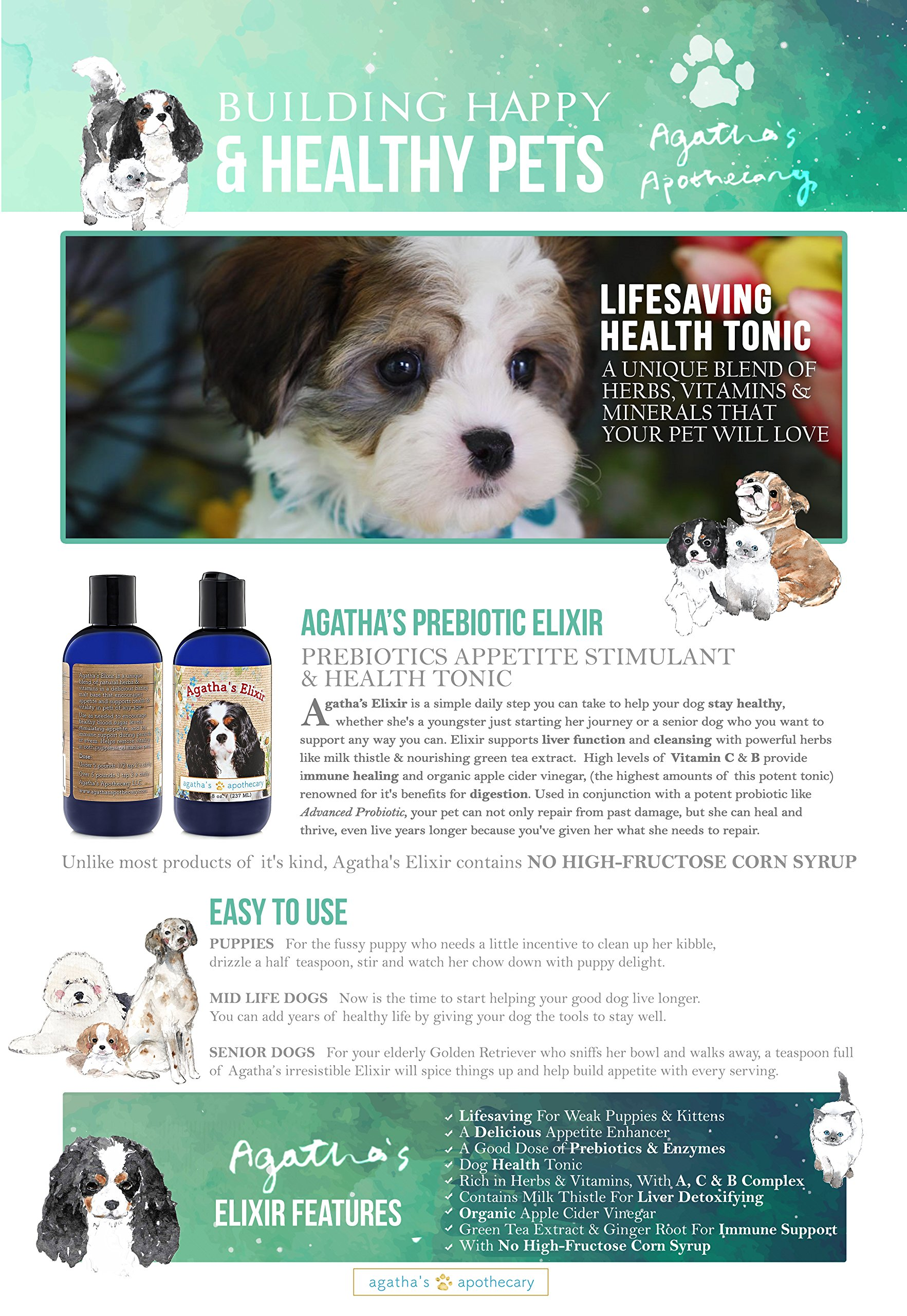 Agatha's Elixir Prebiotics for Dogs ● Appetite Stimulant for Picky Eaters and Senior Pets ● Green Tea & Milk Thistle Boost Immune System, Liver Detoxifier by Agatha's Pet Wellness (Image #7)