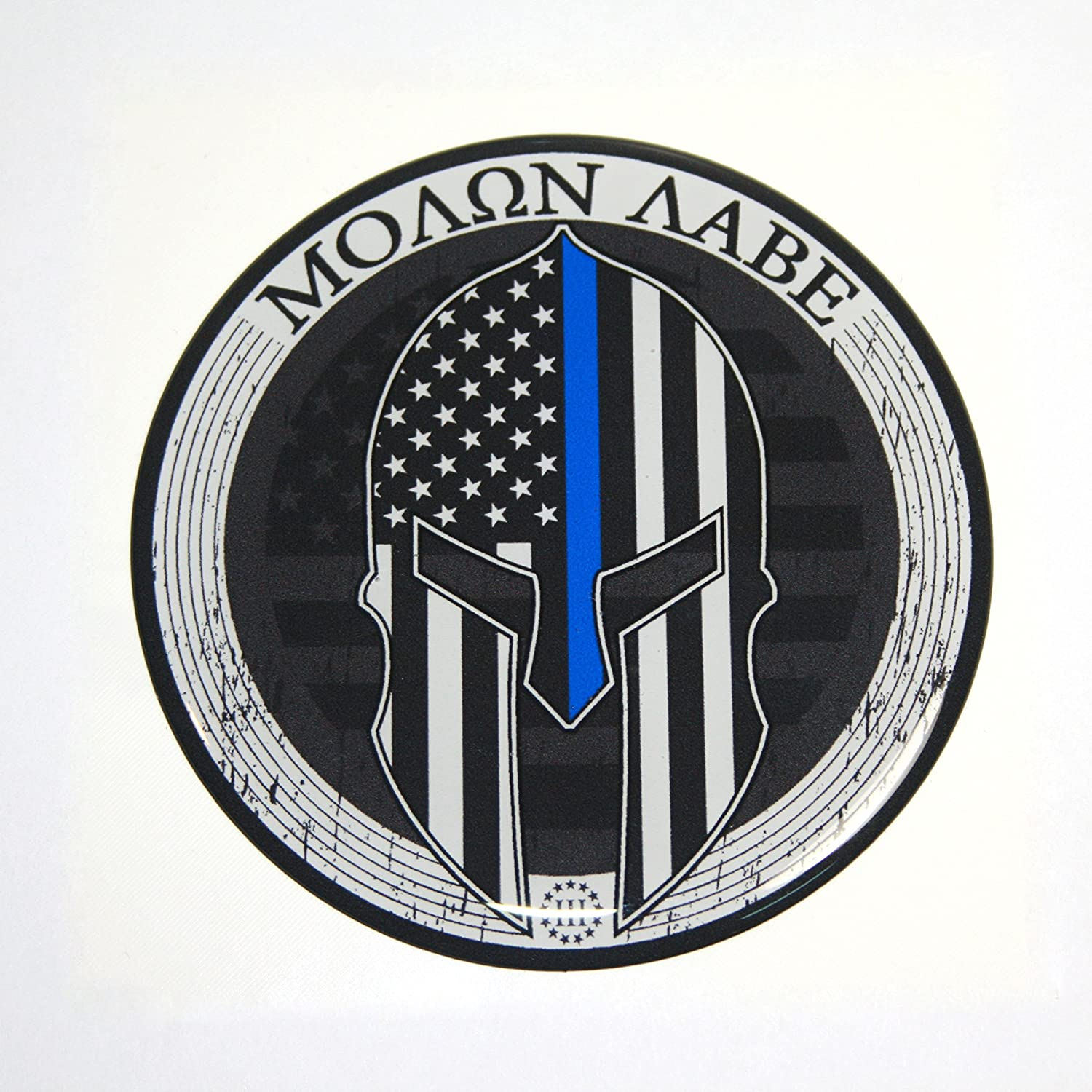 Amazon Com Proud Store Online Usa Molon Labe 3 Sticker Thin Blue