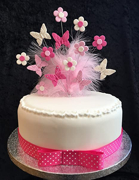 Magnificent Pinks White Butterflies And Flowers Cake Topper With Feathers Personalised Birthday Cards Beptaeletsinfo