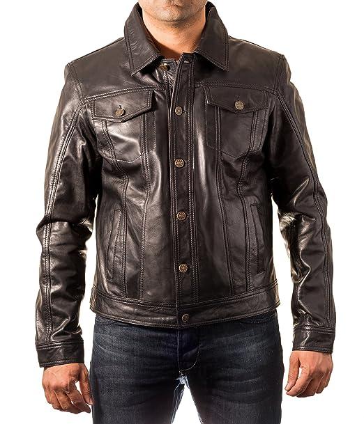 A to Z Leather Negro para Hombre de Cuero Real de Levis Pantalones Vaqueros del Dril Estilo Chaqueta Ajustada: Amazon.es: Ropa y accesorios